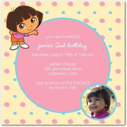 Party Rings Dora the Explorer Invitation