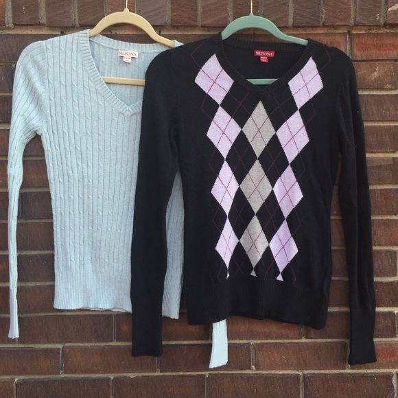 Two Merona pull over vneck sweaters  In good condition.  Great pull overs to layer or wear alone. Merona Sweaters V-Necks