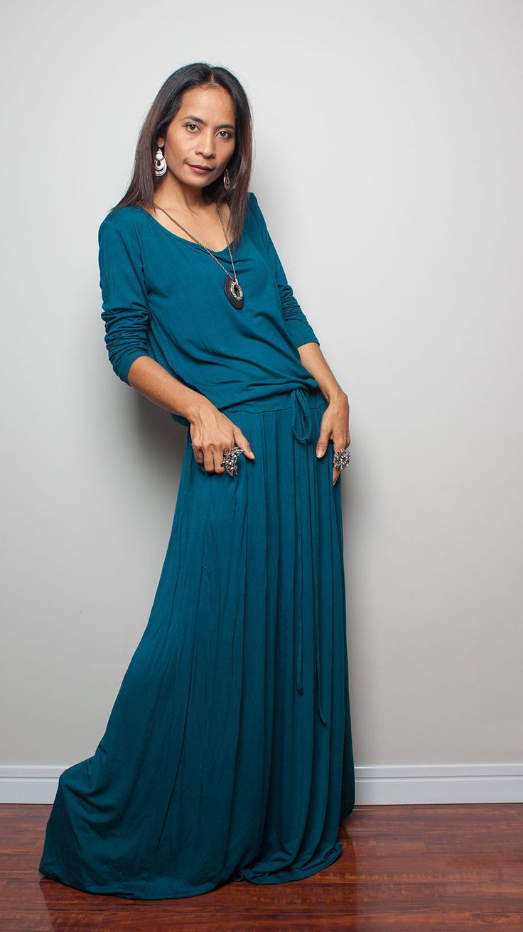 Teal Maxi Dress - Long Sleeve Dress : Autumn Thrills Collection No.1 (Best Seller) by Nuichan on Etsy