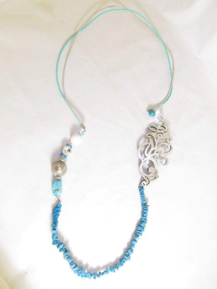 Handmade long necklace with silver leather filigree (1 pc)  Made with silver leather filigree, semiprecious stones, crystals and glass beads.