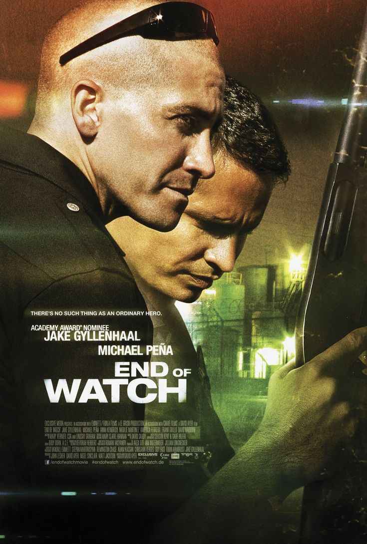 End of Watch (2012) Incredible movie! Police values should always be: brotherhood for duty and respect of law. Best self-regulation to prevent corruption. This movie is raw and real and amazing. It really opens up the world of what police work is really like and has made me gain insane respect for the heart behind the badge.