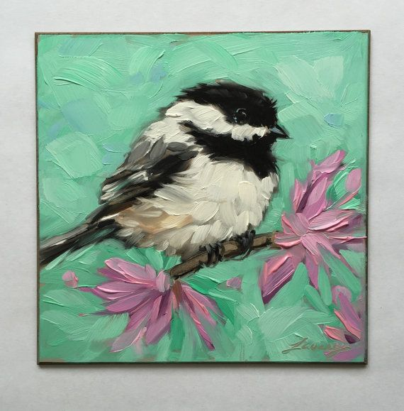 Chickadee painting, Original impressionistic oil painting of a Chickadee on a branch with lavender flowers, 5x5 on panel, vibrant colored background  Small wooden easel included!  Professional art board is 1/8 thick. These small paintings are best displayed on an decorative easel or can be easily and inexpensively framed using a standard photo frame (minus the glass or with a matte) Artwork is photographed and the image is adjusted to match the original painting as close as possible. If you…