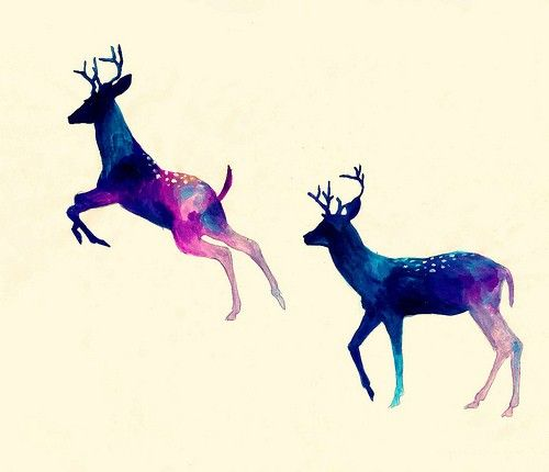 specklesInspiration, Deer Art, Long Flight, Watercolors, Illustration, Christmas Lights, Deer Silhouettes, Tattoo, Water Colors