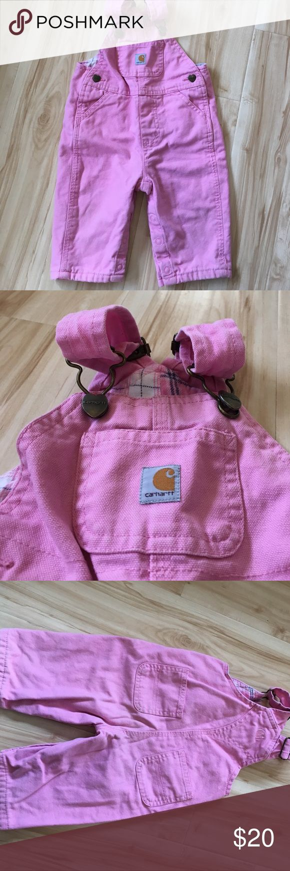 Carhartt Bibs! Baby girl, flannel lined Carhartt bibs! Nice and warm! Great used condition. No rips, tears or stains. Clean & smoke free home! Carhartt Bottoms Overalls