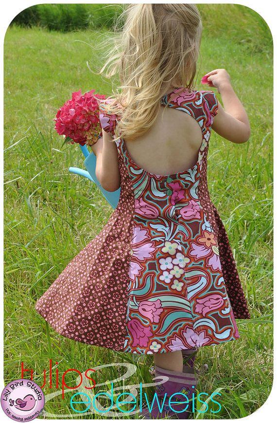 Juliette's Dress - 2-10Y- PDF Pattern and Instructions - paneled dress, open back, petticoat. $7.90, via Etsy.