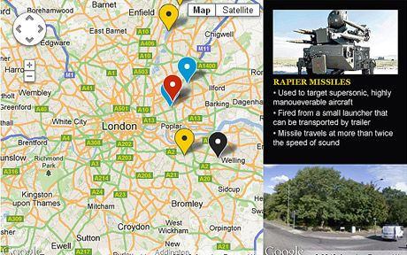 Surface-to-air missile map for London 2012 games by @coneee