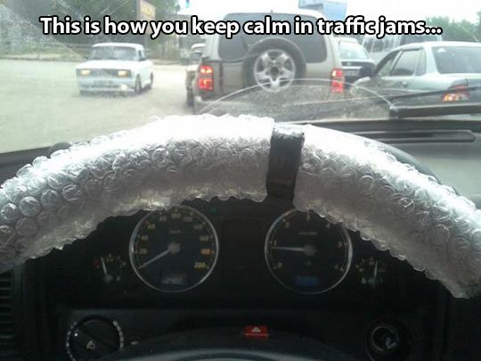 How to keep calm in traffic jams.