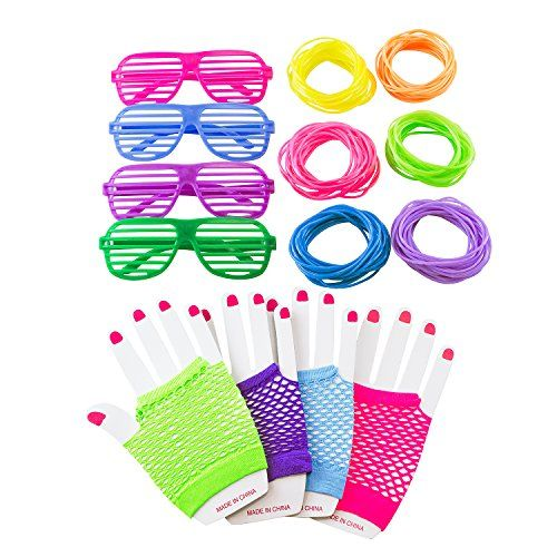 80s Retro Rock Pop Star Disco Dress-Up Party Pack Supply Set with Diva Finger-less Net Gloves, Shutter Style Glasses, Jelly Neon Gel Bracelets for Theme Events, Colorful Assortment by Super Z Outlet®