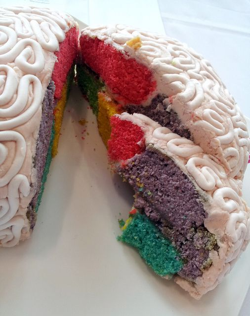Inside the colourful and delicious brain cake