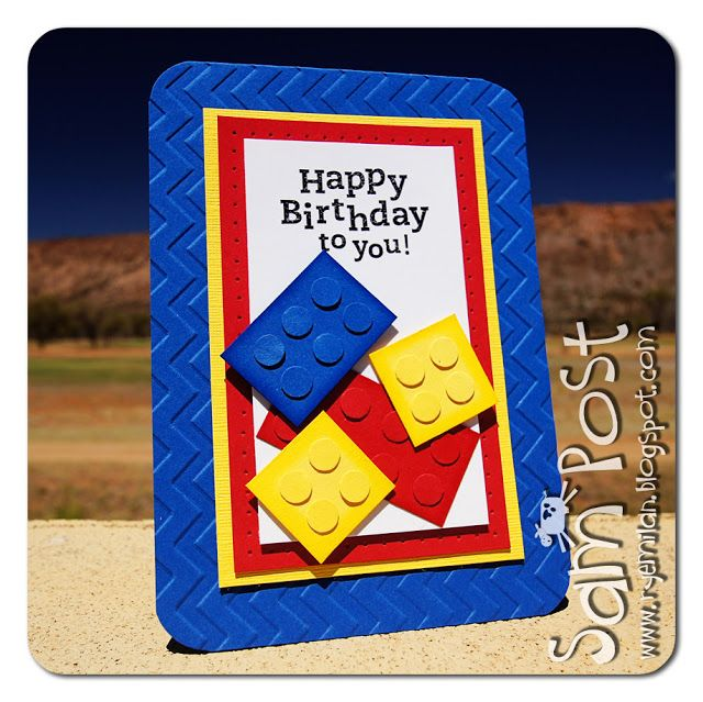 handmade card by Ryemilan's Ramblings: For all the Lego fans! ...bright and beautiful ... strong primary colors ... legos made with squares or rectangles and popped up punched circles of the same color ... luv it!!