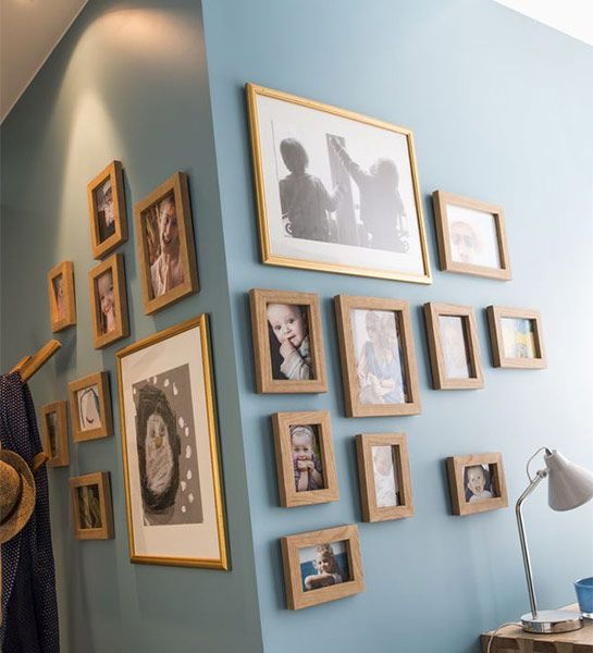 an interesting photo display with cheap photo frames