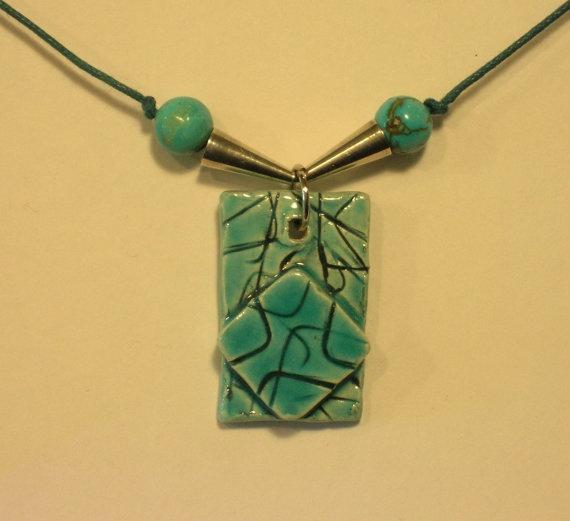 Turquoise Glazed Ceramic Pendent by ArtbyRolana on Etsy, $25.00