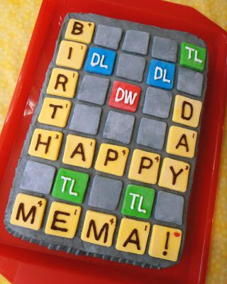 Words With Friends Birthday Cake- spell it out in words! White cake, butter cream frosting, fondant tiles. {no recipe}
