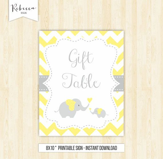 gift table sign cards and gifts sign chevron baby shower elephant sign yellow baby shower sign elephant baby shower sign yellow and grey by Rebecca Designs22