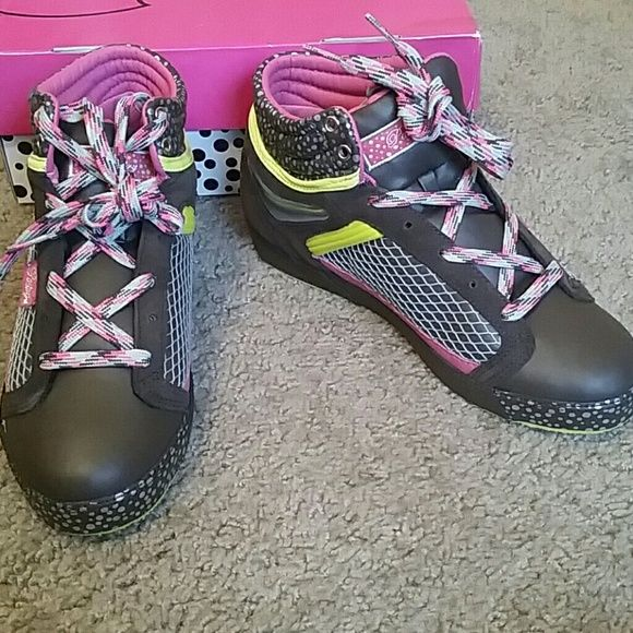 *LIKE NEW* Pastry shoes *LIKE NEW* chocolate brown Pastry shoe w/ pink, green, and silver throughout, size 8 1/2. Truly a unique pair of shoes!! Box included! Shoes Sneakers