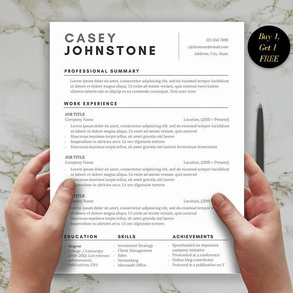1 page resume template for word includes cover letter and one - Resume Professional Summary