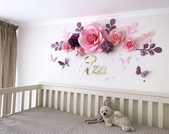 Vivero flores - flores de papel sobre la cuna - Baby niña sala de papel flores de papel - decoración de pared de habitación de bebé (código: 112)