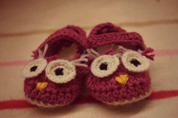Crochet owl booties.