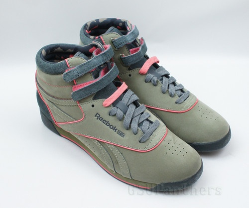 Reebok Freestyle Hi Alicia Keys Cargo Green Gravel Coral Women's Shoes 6 9
