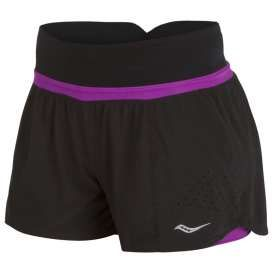 #Saucony short 2-1 met korte tight zwart/paars dames bij #hardloopaanbiedingen.nl #hardlopen