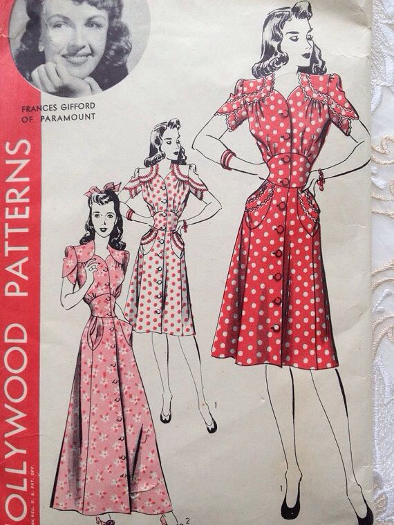 """Hollywood Patterns, 1940s. [In Through Waters Deep, original inspiration for Mary's """"daring"""" red dress]"""