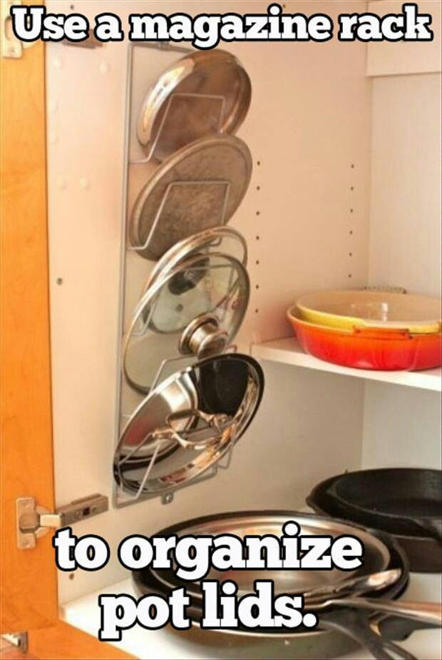 Use a magazine holder to organize pot lids.