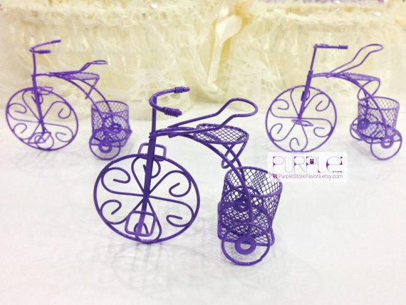 Bicycle Purple Wedding Favor Tricycle Wire by UniqueDecorSUPPLIES