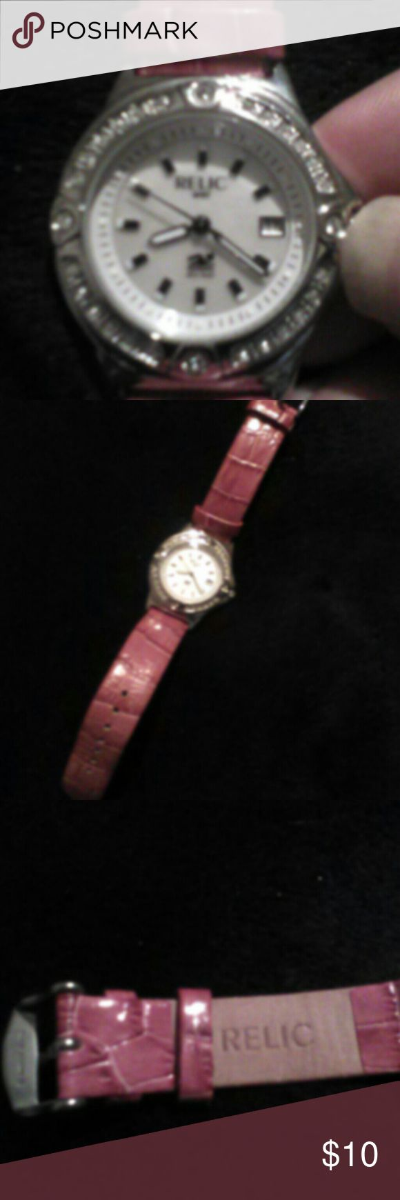 Relic watch Relic watch with rhinestones. Pink band. Never worn. Needs new battery Relic Jewelry Bracelets