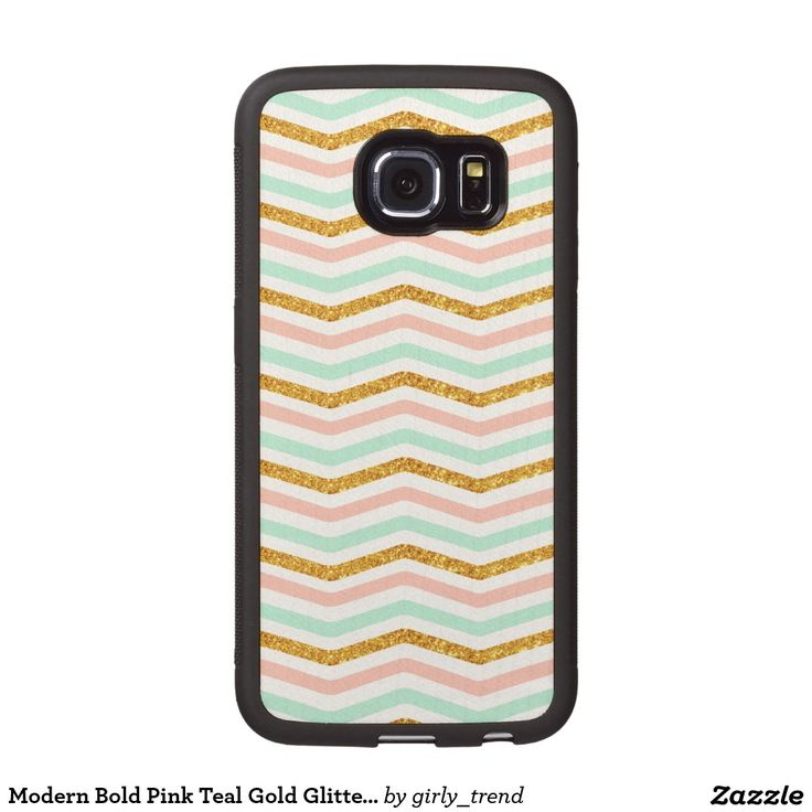 Modern Bold Pink Teal Gold Glitter Chevron Pattern Wood Phone Case