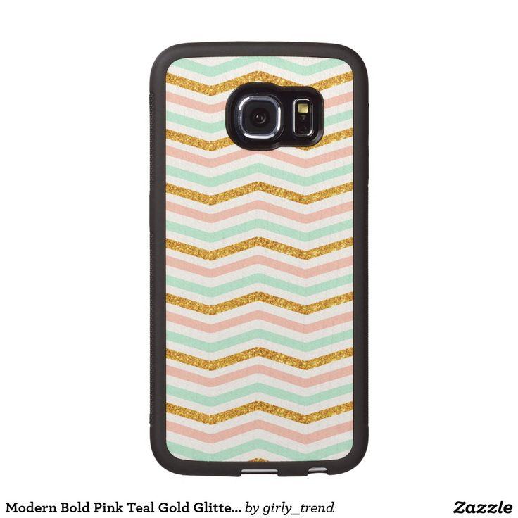 Modern Bold Pink Teal Gold Glitter Chevron Pattern Wood Phone Case