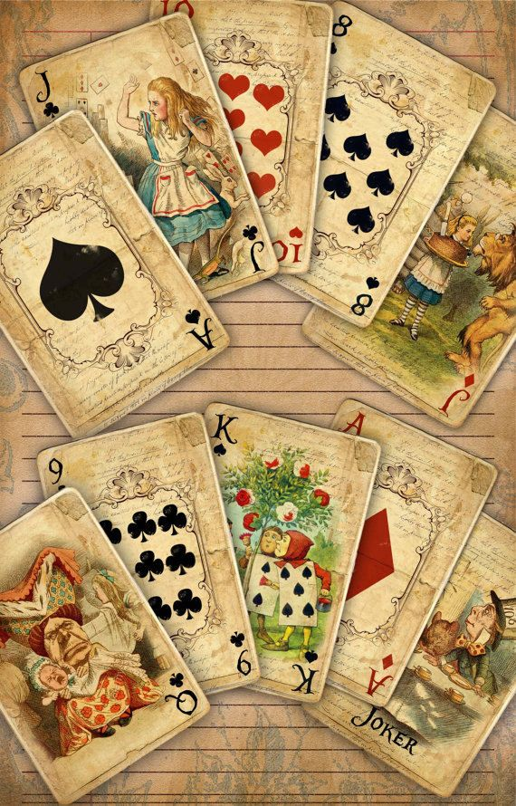 High Quality 300dpi, Alice in Wonderland Digital Collage Sheet Printable Playing Cards Set contains 8 digital sheets Each sheet contains 7 playing cards Each sheet is in JPG format Each playing card size: 2.5 x 3.5 inches There is a total of 56 printable images Sheet Size: A4 ready for printing. Fits standard 8.5 x 11 inch size paper when printed. NOTE: This product is an INSTANT DIGITAL DOWNLOAD, not a PHYSICAL ITEM. IMPORTANT: You are free to print as many copies as you wish...