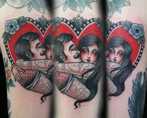 Love this - searching for couple tattoos, this is perfect only have the couple drawn to look like us