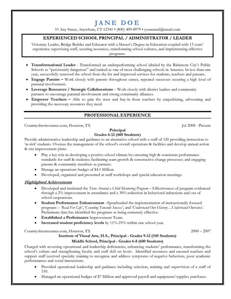 11 best Resume Samples images on Pinterest Sample resume, Resume - school administrator resume