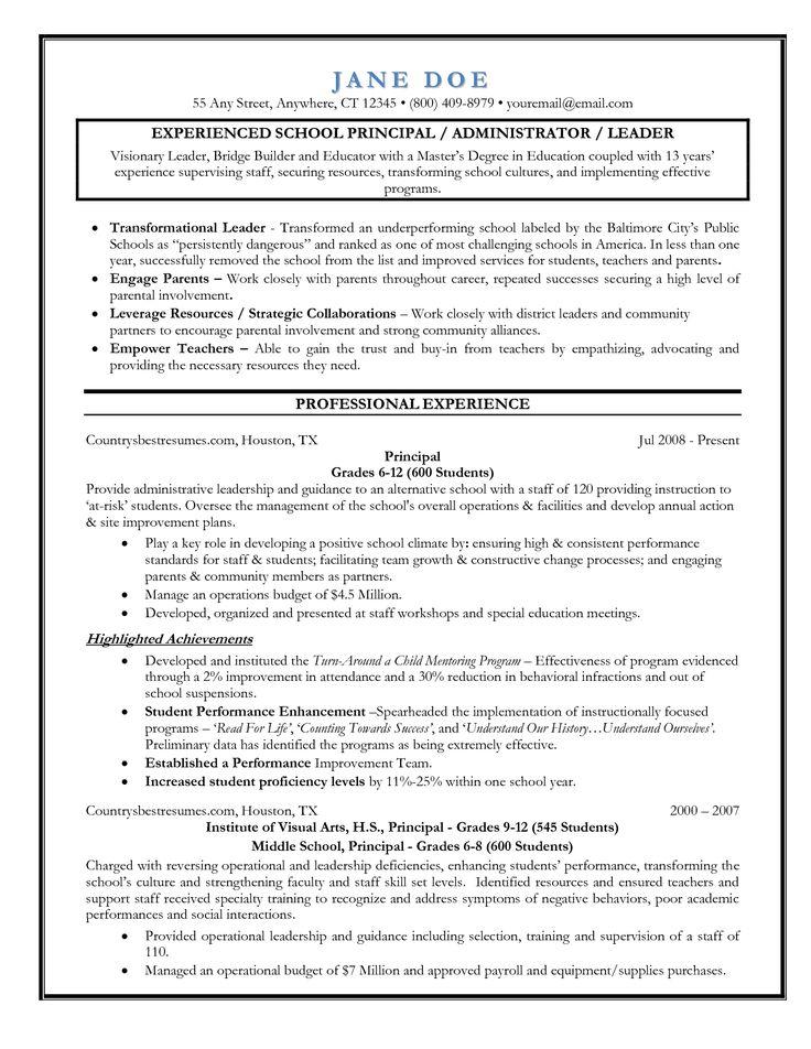 Entry-Level Assistant Principal Resume Templates | Senior Educator - Principal Resume Sample