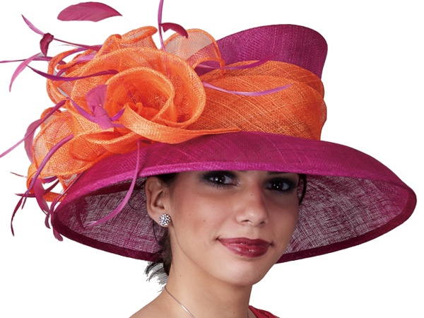 Fuchsia and orange sinamay hat (102538) from KaKyCo. $100.