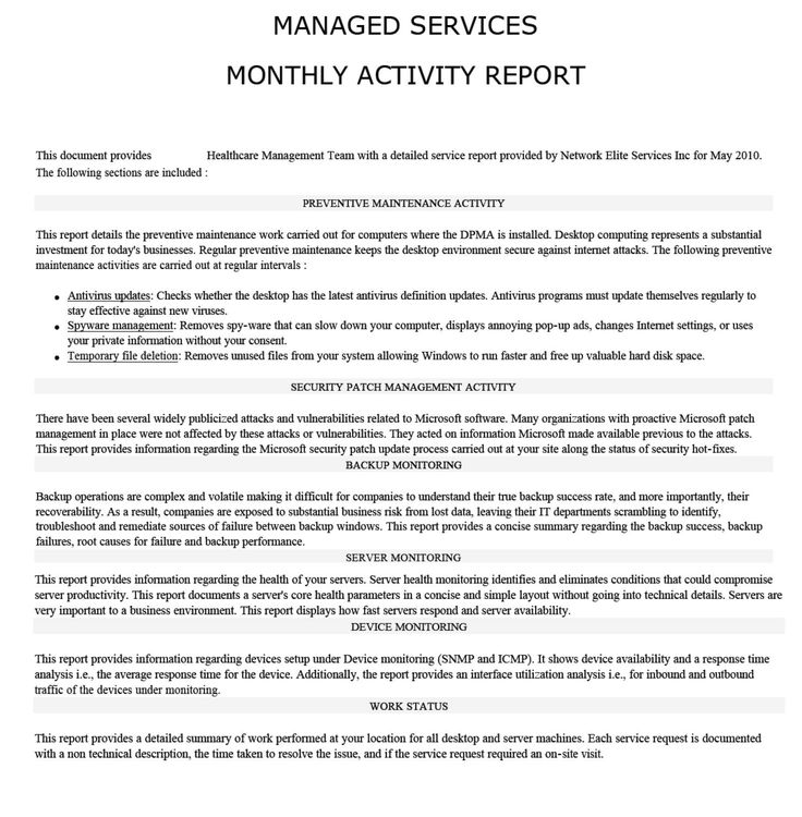 Activity Report Monthly Summary  It
