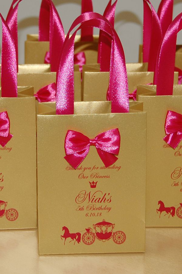 Gold Pink Birthday Gift Bags For Party Favor For Guests Thank Your