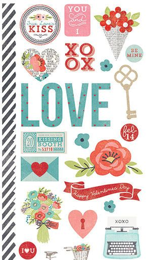 Simple Stories - Hugs and Kisses Collection - Cardstock Stickers - Fundamentals at Scrapbook.com