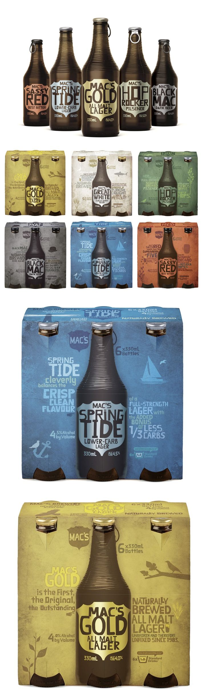 "Mac's Brewery - ""Really fun design by Shine for Mac's Brewery. The textured bottle is a nice touch."""