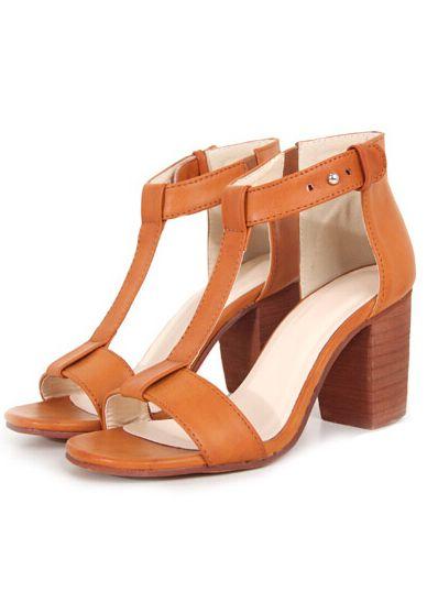 Brown Chunky High Heel T Sandals 31.67