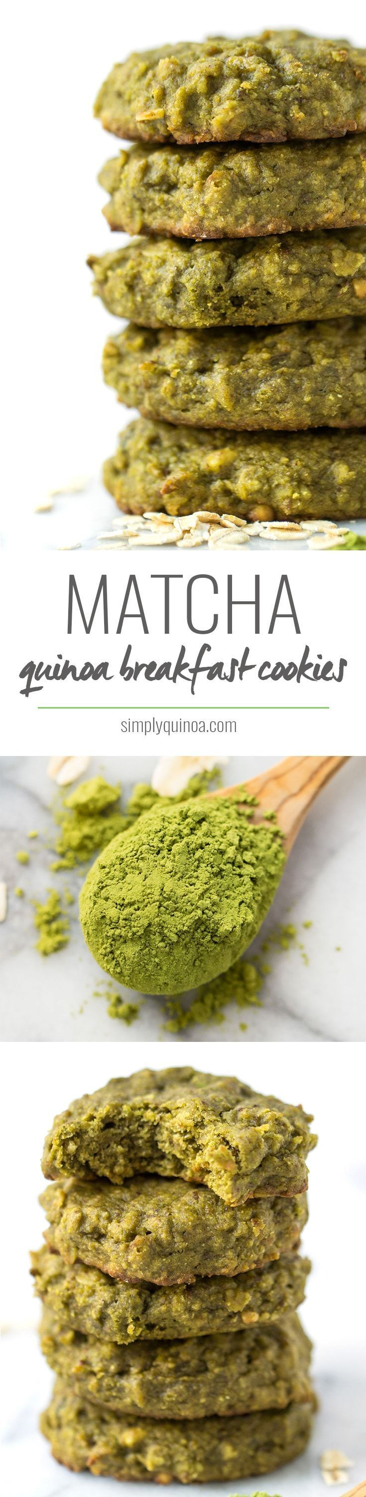 My favorite quinoa breakfast cookie flavor yet >> MATCHA! they're flavorful, energizing and the perfect way to start the day! (Matcha Pancake Healthy)