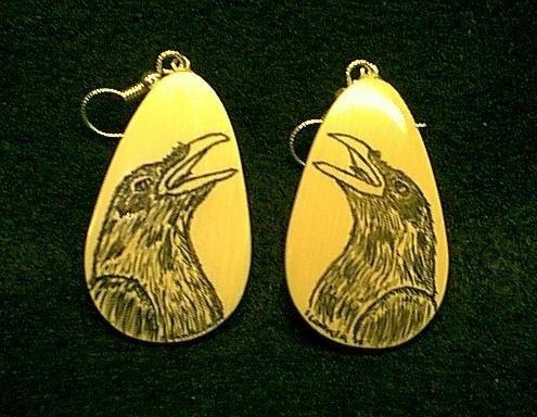 ivory scrimshaw raven...Ivory Scrimshaw, Scrimshaw Ravens