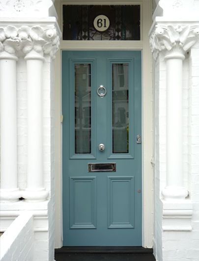 "Victorian front door. Love the effect, though I think a slightly more ""heritage"" colour would work better for our house. The stained glass number is just stunning"