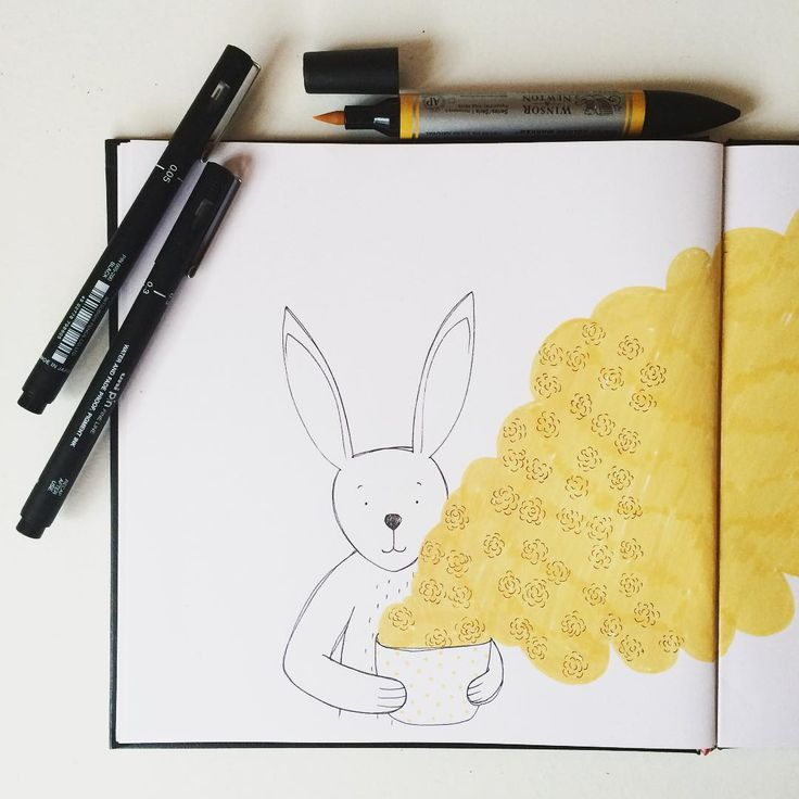 piece of my #illustratedbunnystories coffee addicted bunny (actually it's me haha :) )  #sketchbook #illustration #series #animaldrawing #coffeelove
