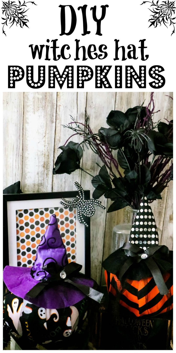 Dollar Tree Witches Hat Pumpkins Diy halloween