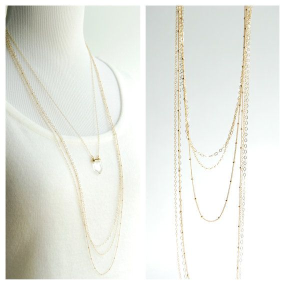 kahawai necklace long triple layered gold necklace. Black Bedroom Furniture Sets. Home Design Ideas