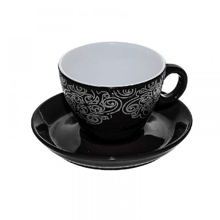 Φλιτζάνια cappuccino, μαύρο/λευκό ανάγλυφο (σετ/6) 280 cc Porcelain,dishwasher safe • Διαστάσεις: Διάμετρος 9Χ Ύψος 7 cm
