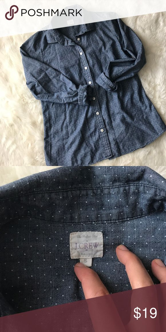 J Crew The Perfect Shirt Polka dot chambray button down from j Crew! Shirt has been worn but gently loved and has no rips or pulls or stains, etc. J. Crew Tops Button Down Shirts