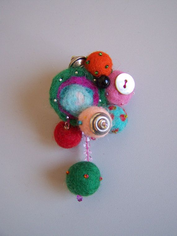 Ooak abstract felt brooch spring colors art gift by ArteAnRy, €15.00