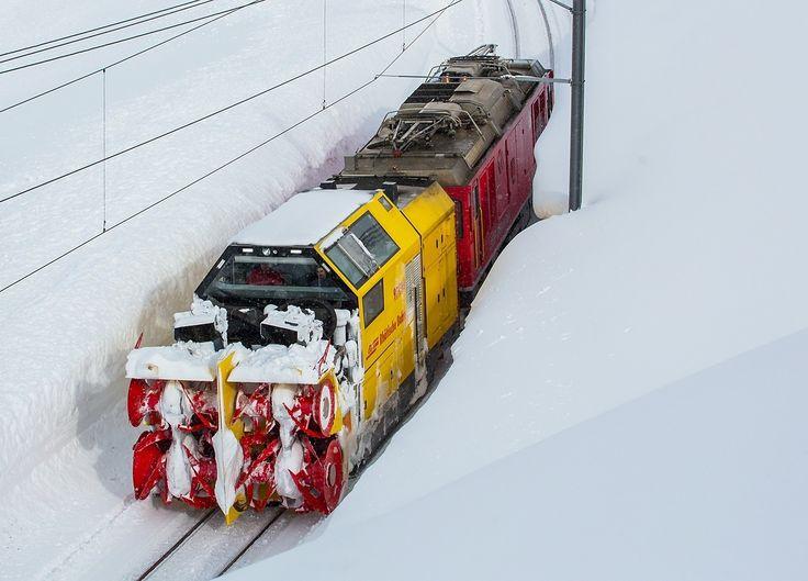 Pociąg do odśnieżania, Ospizio Bernina, Szwajcaria